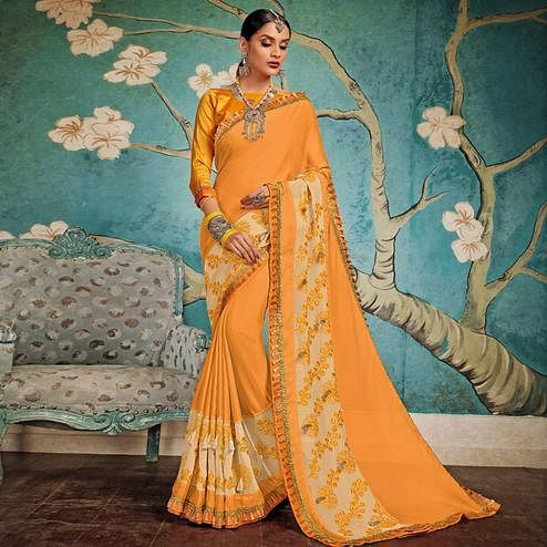 Unique Orange Colored Party Wear Embroidered Georgette Saree