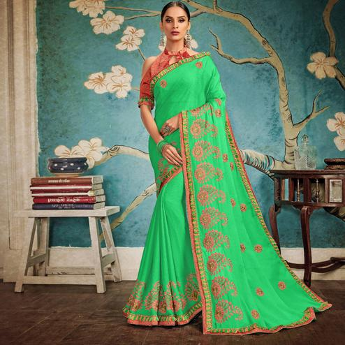 Refreshing Green Colored Party Wear Embroidered Georgette Saree
