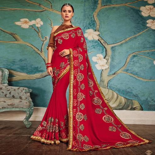 Elegant Red Colored Party Wear Embroidered Georgette Saree