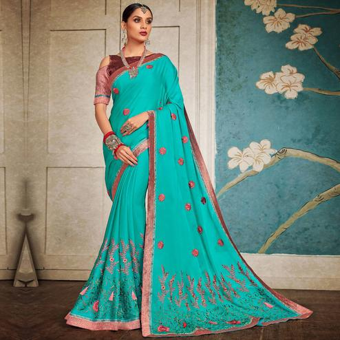 Alluring Sky Blue Colored Party Wear Embroidered Georgette Saree