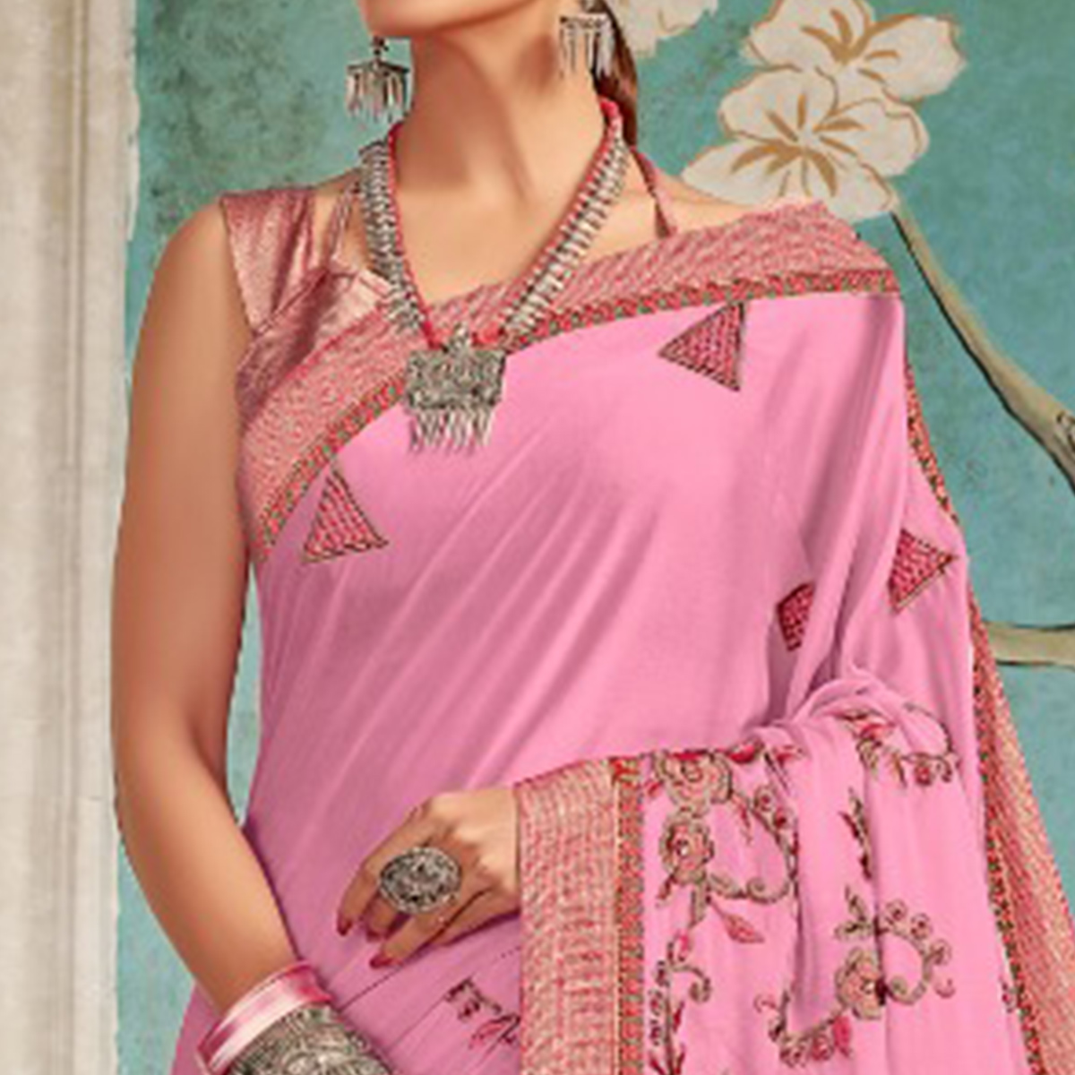 Radiant Pink Colored Party Wear Embroidered Georgette Saree