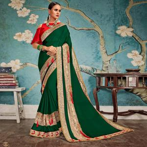 Sensational Dark Green Colored Party Wear Embroidered Georgette Saree