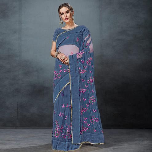 Trendy Gray Colored Partywear Embroidered Netted Saree
