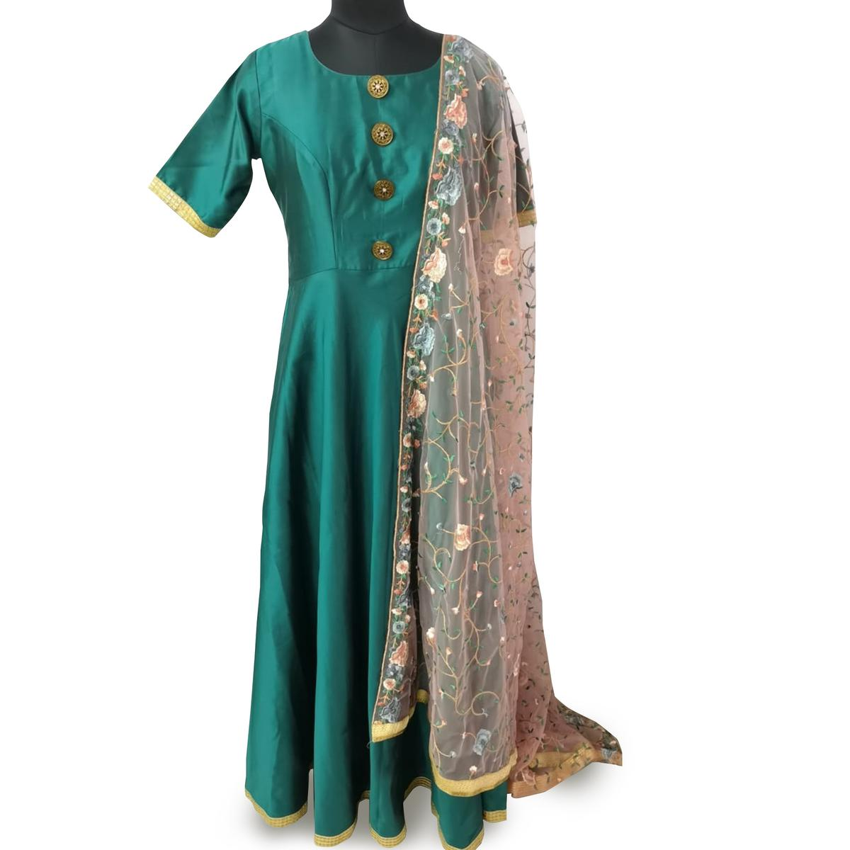 Eye-Catching Rama Green Colored Partywear Satin Gown