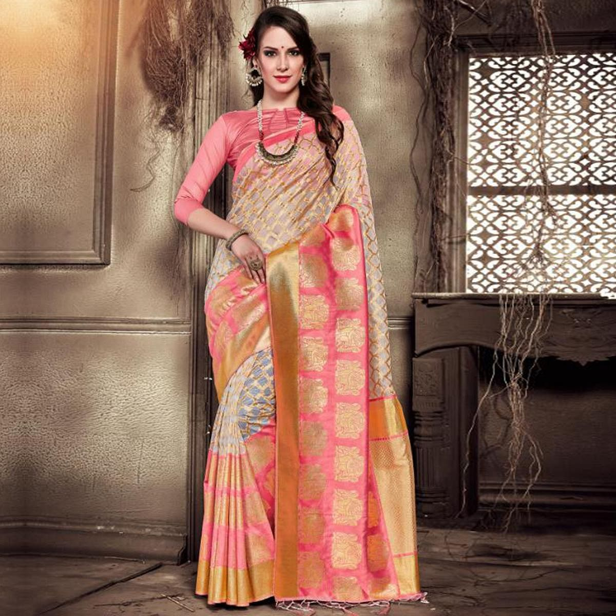 Lovely Pink-Beige Colored Festive Wear Woven Silk Saree