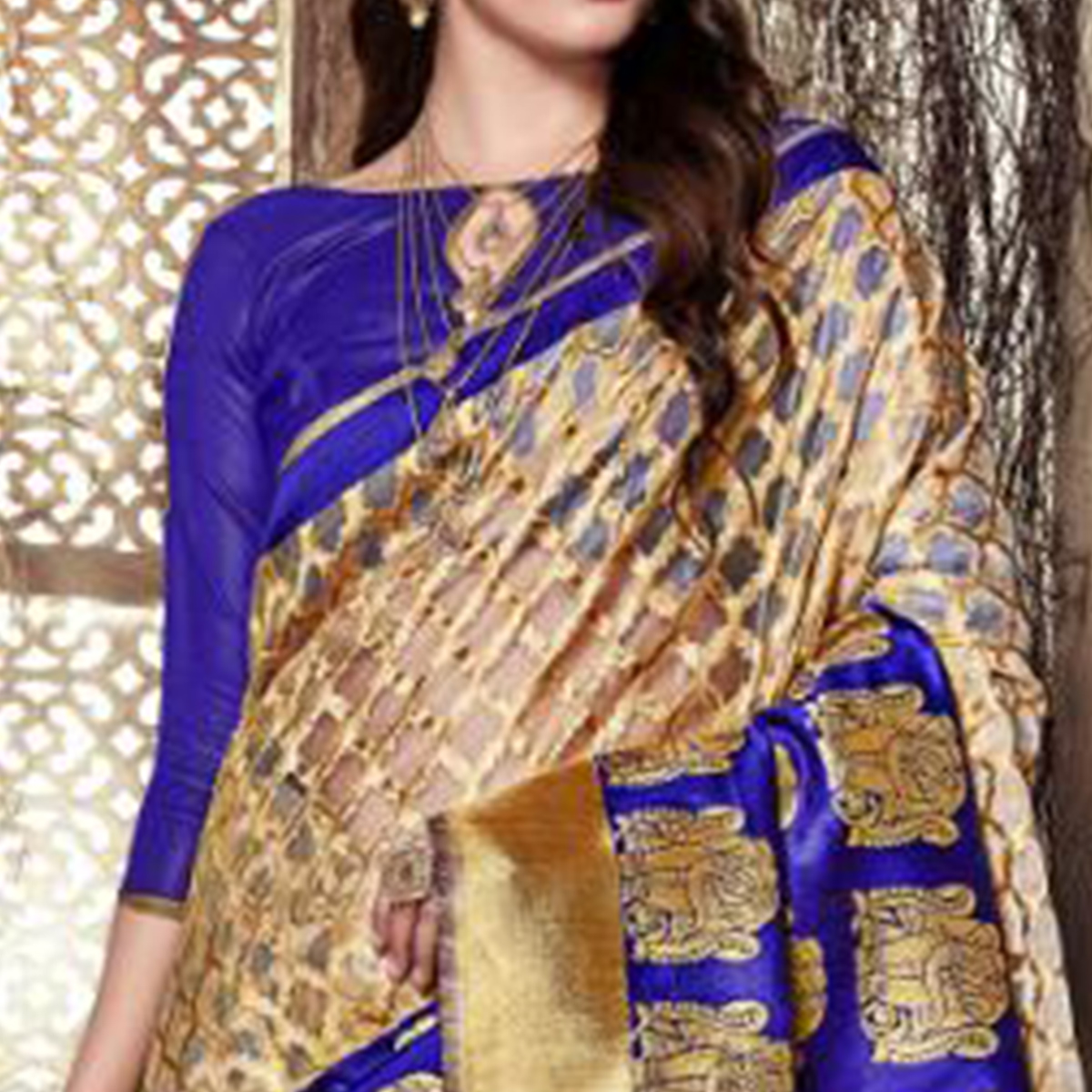 Demanding Blue-Beige Colored Festive Wear Woven Silk Saree