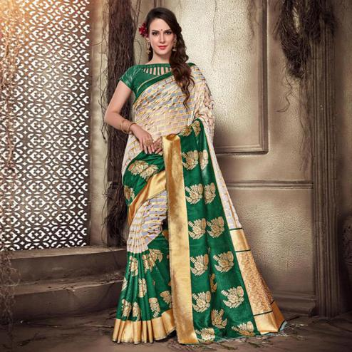 Adorable Green-Beige Colored Festive Wear Woven Silk Saree