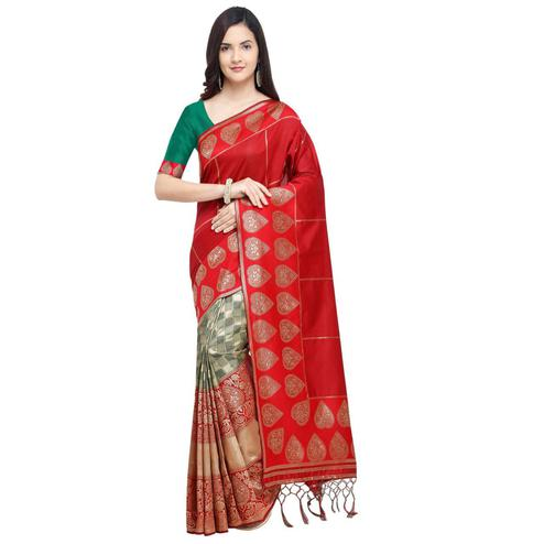 Appealing Red Colored Festive Wear Woven Silk Half-Half Saree