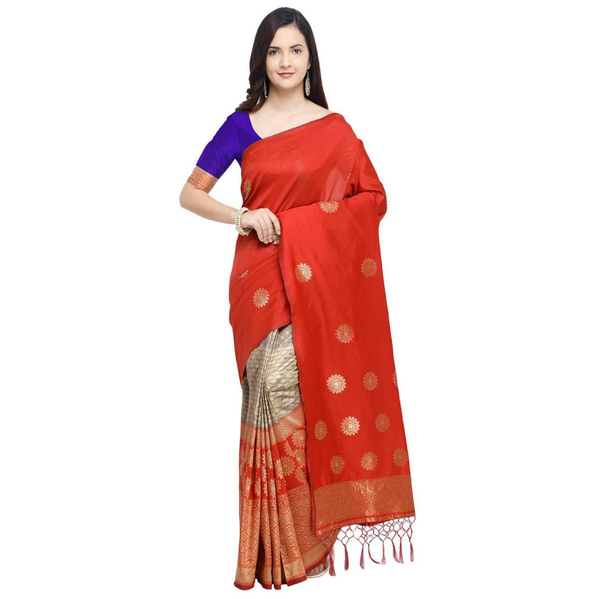 Refreshing Coral Red Colored Festive Wear Woven Silk Half-Half Saree