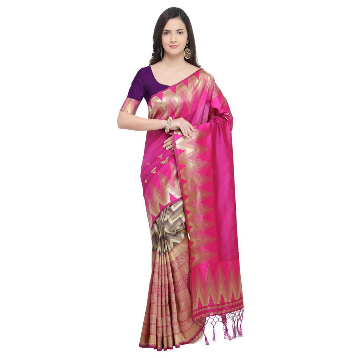 Pretty Rani Pink Colored Festive Wear Woven Silk Half-Half Saree