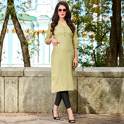 Light Green Cotton Designer Kurti