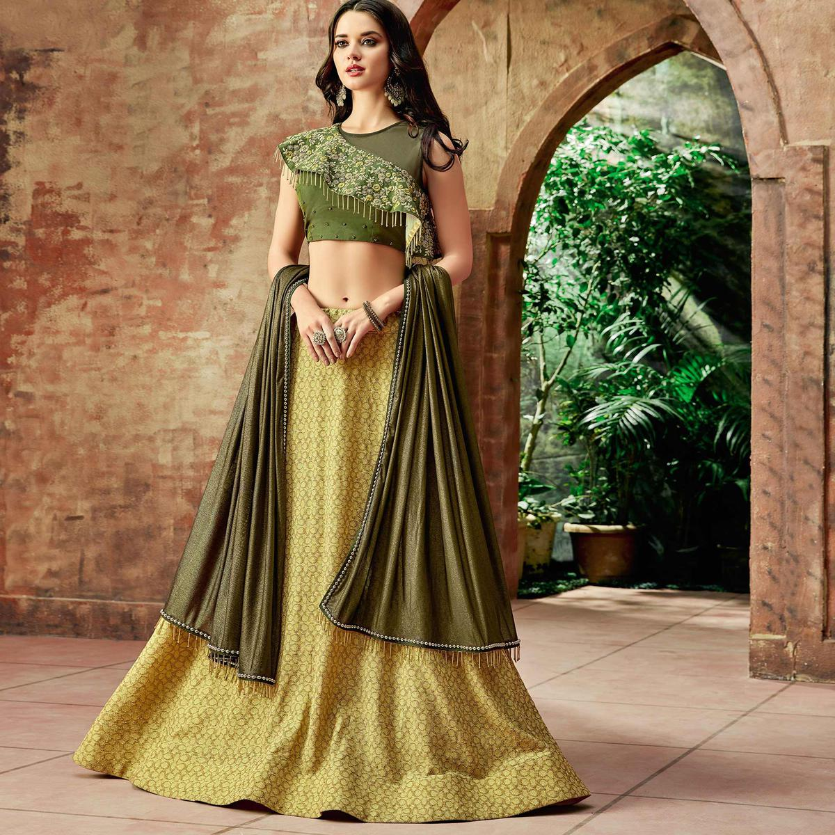 Flattering Yellow Colored Partywear Embroidered Lycra Lehenga Choli