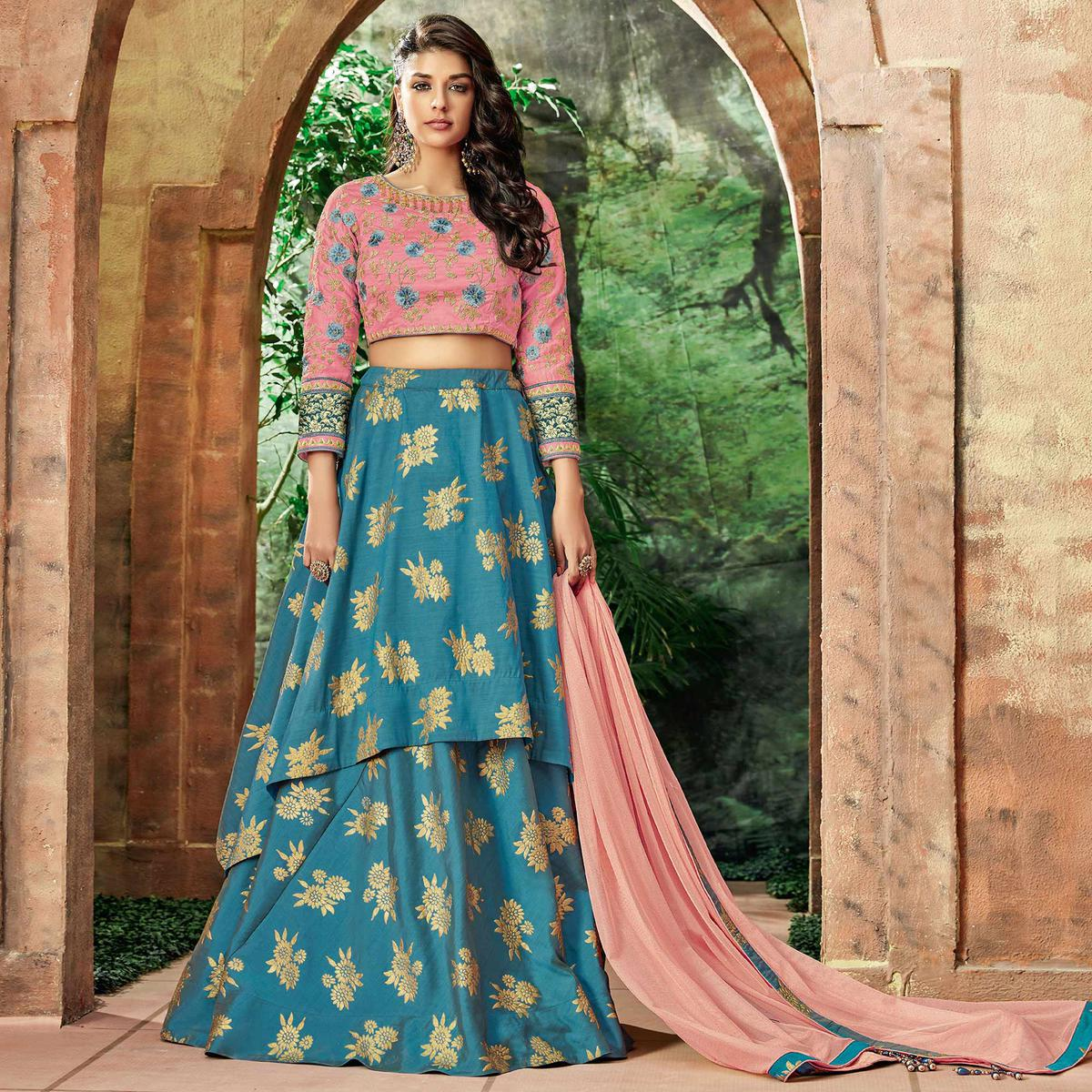 Arresting Blue Colored Partywear Embroidered Silk Lehenga Choli