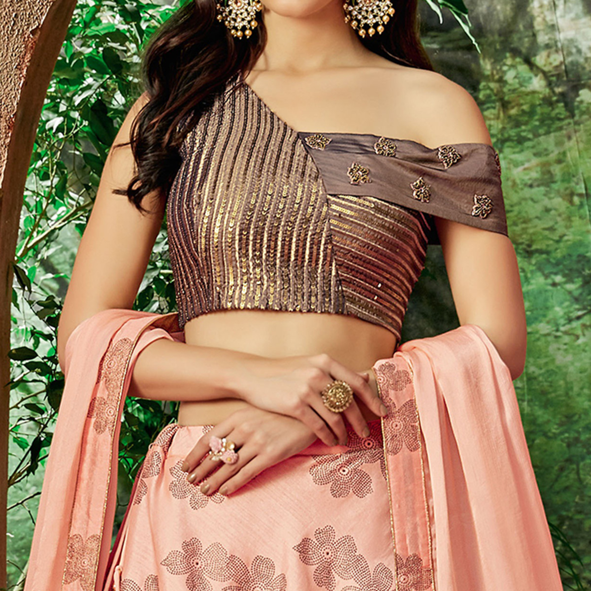 Starring Peach Colored Partywear Embroidered Silk-Net Lehenga Choli