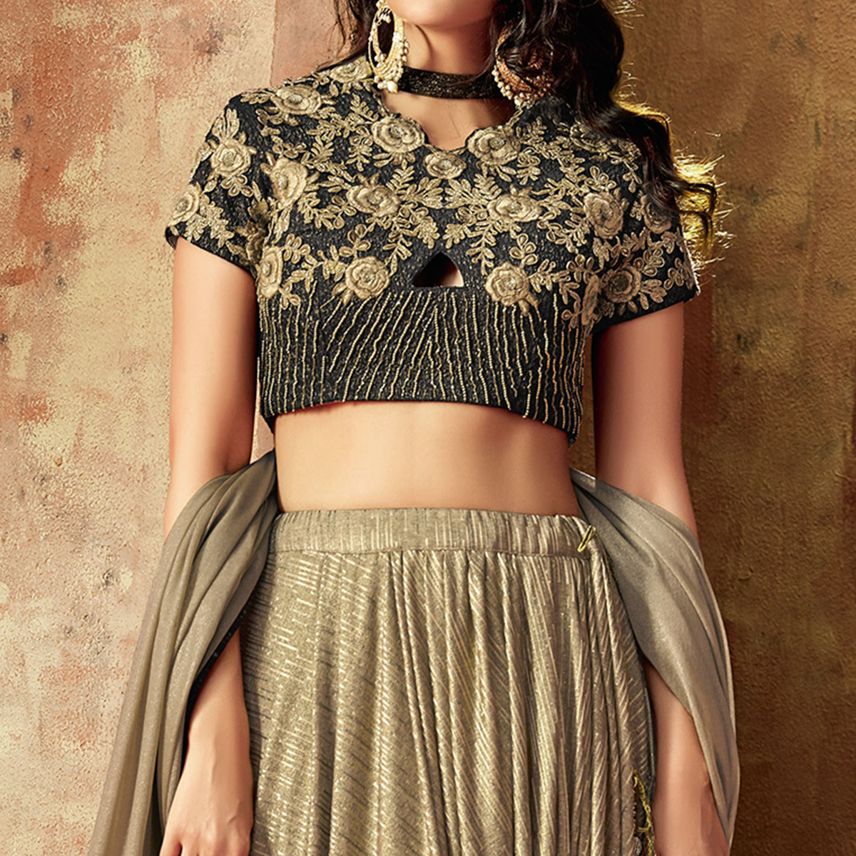Hypnotic Beige Colored Partywear Embroidered Lycra Lehenga Choli