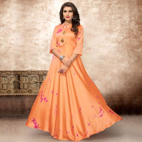 Adorable Orange Colored Partywear Shibori Printed Silk Long Kurti