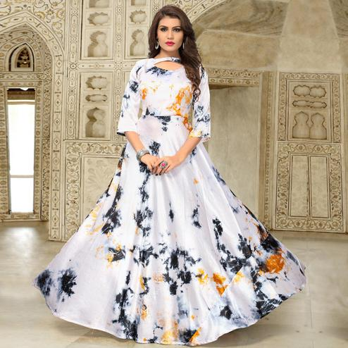 Attractive Off White Colored Partywear Shibori Printed Satin Silk Long Kurti