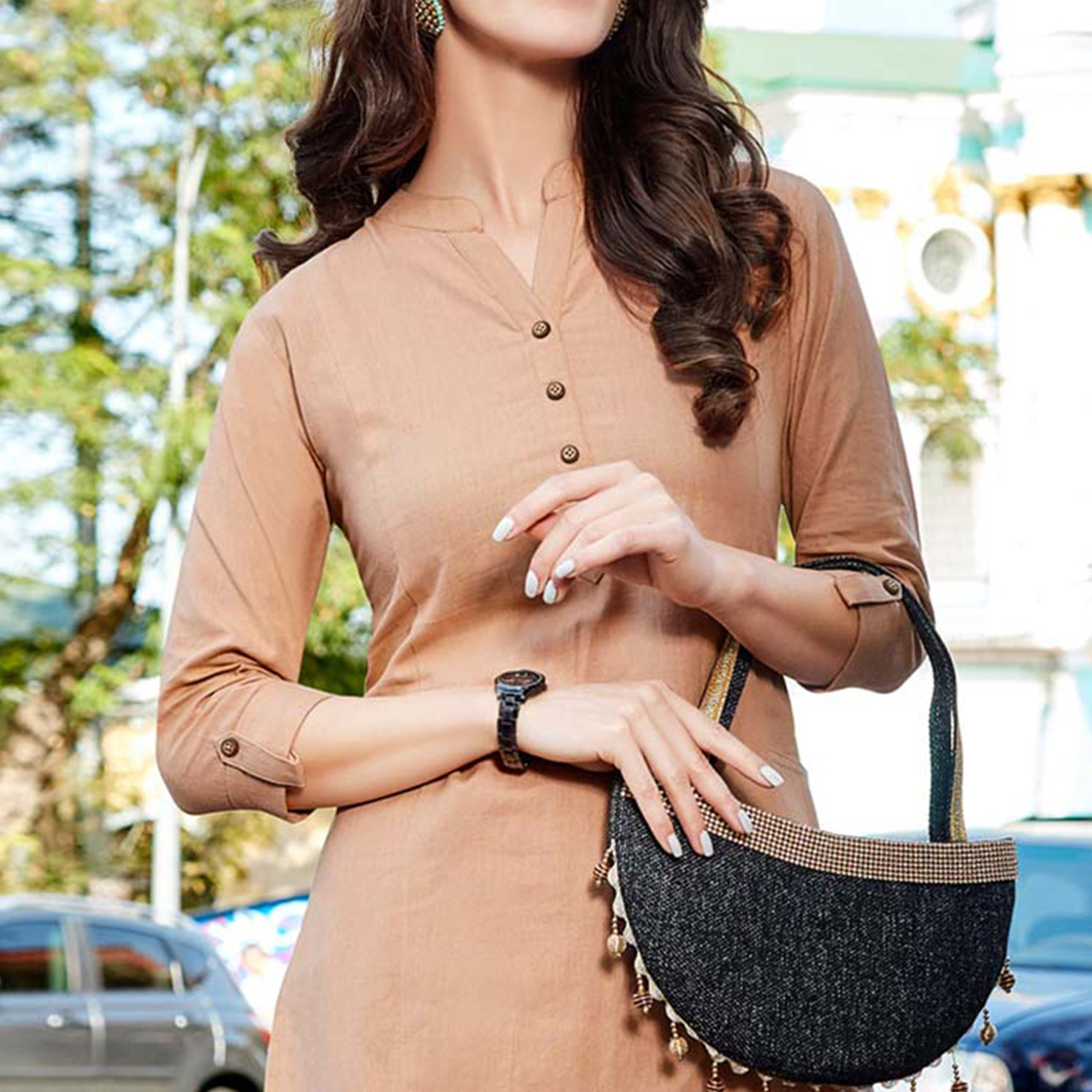 Light Brown Cotton Designer Kurti