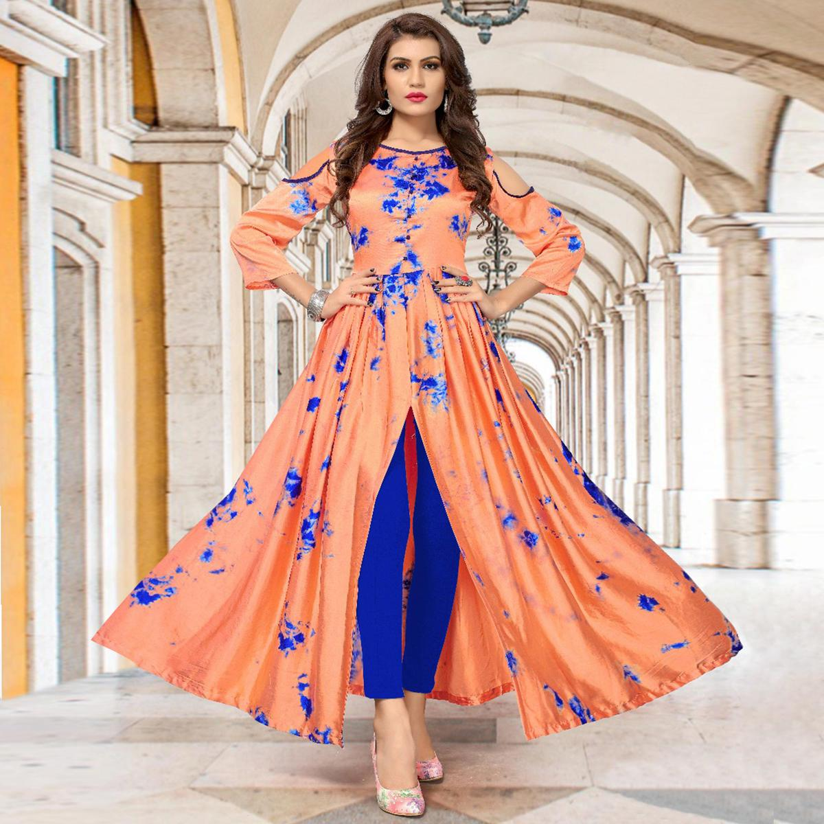 Classy Peach Colored Partywear Shibori Printed Silk Long Kurti