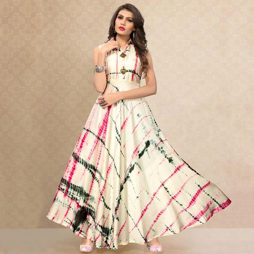 Graceful Cream Colored Partywear Shibori Printed Satin Silk Long Kurti