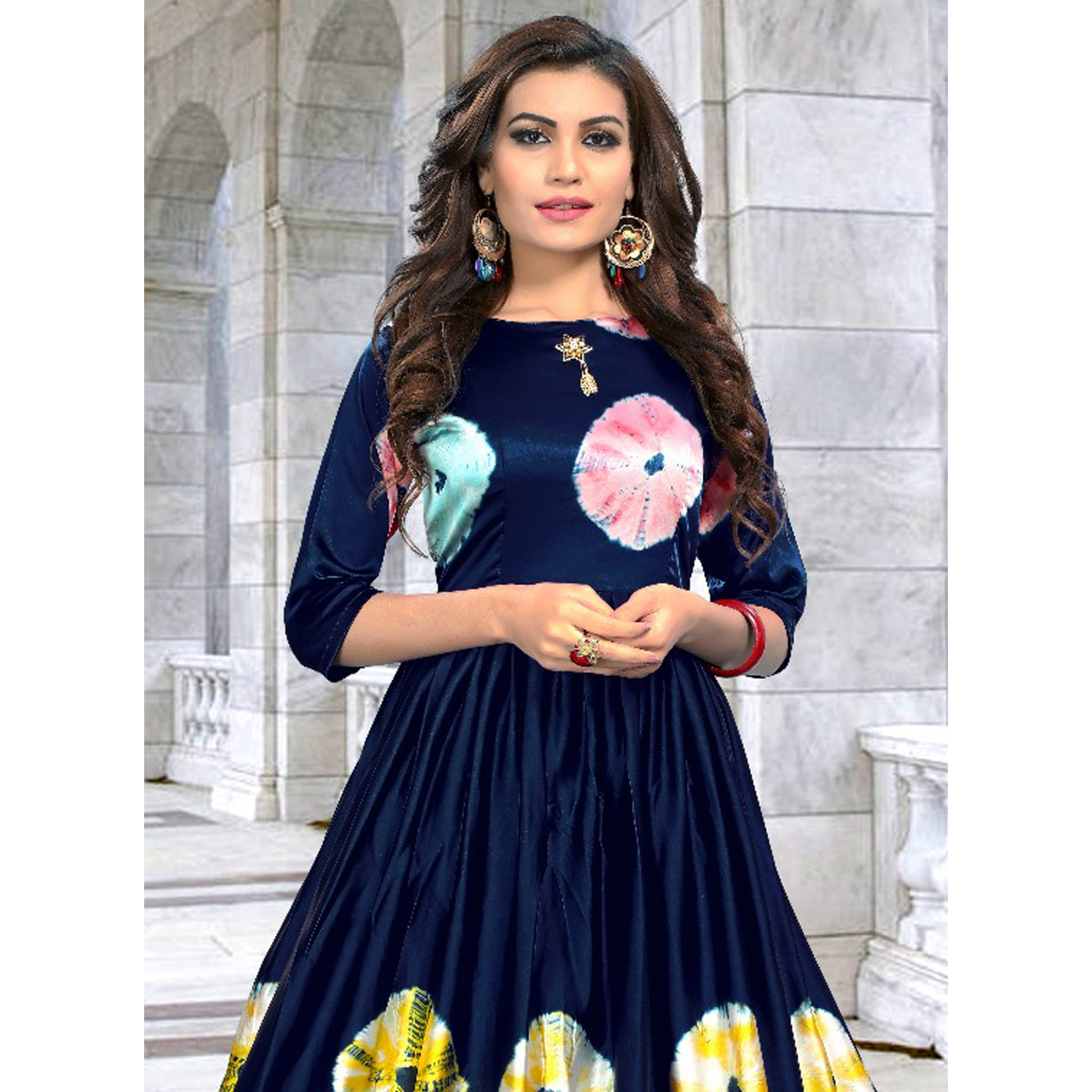 Lovely Navy Blue Colored Partywear Shibori Printed Silk Long Kurti