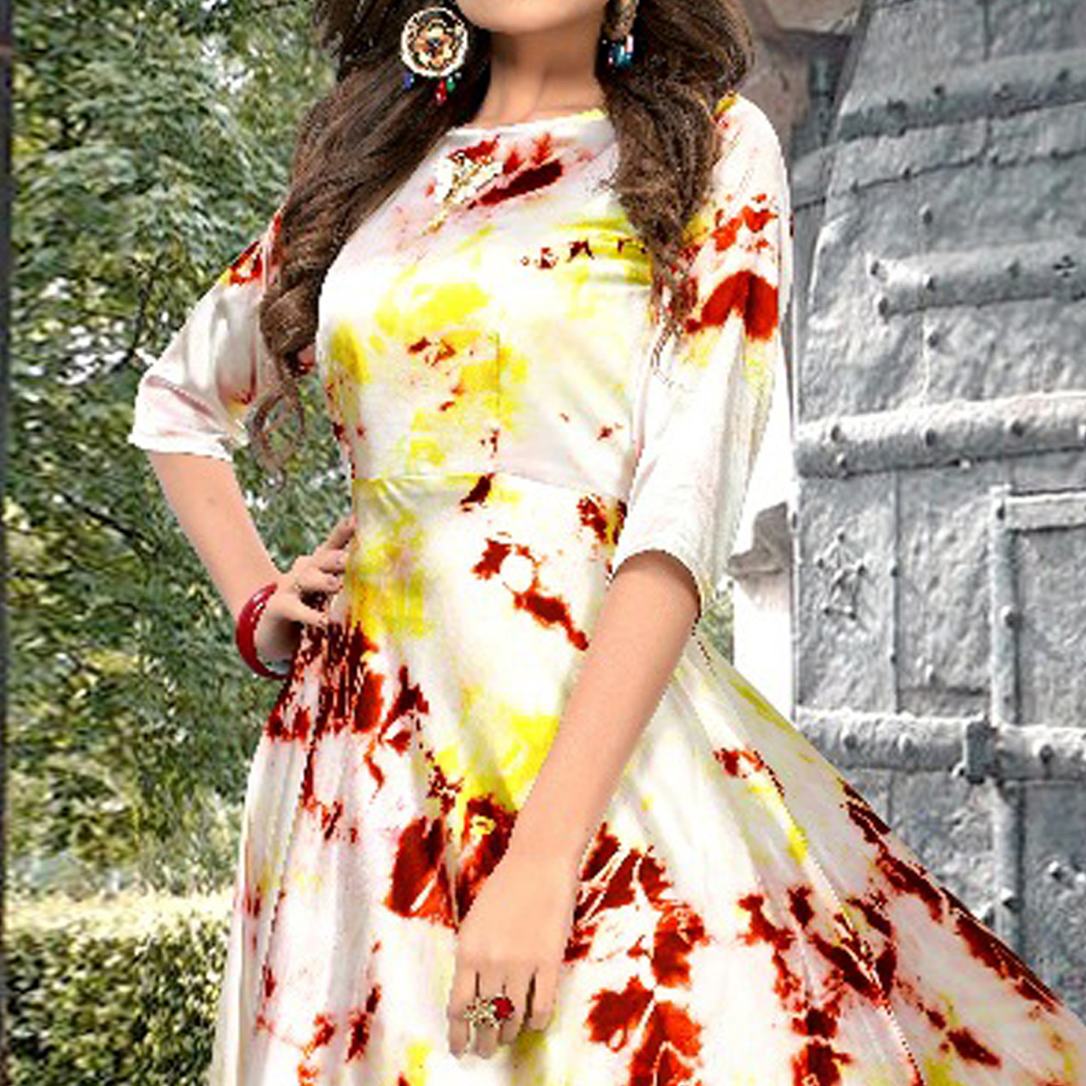 Pretty Cream Colored Partywear Shibori Printed Silk Long Kurti