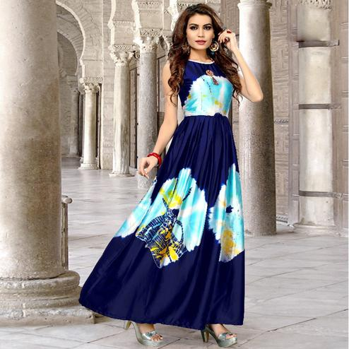 Radiant Navy Blue Colored Partywear Shibori Printed Satin Silk Long Kurti