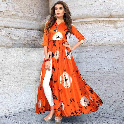 Ravishing Orange Colored Partywear Shibori Printed Silk Long Kurti