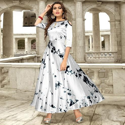 Delightful Silver Gray Colored Partywear Shibori Printed Satin Silk Long Kurti