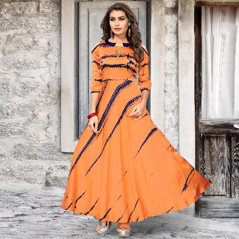 Stunning Orange Colored Partywear Shibori Printed Satin Silk Long Kurti