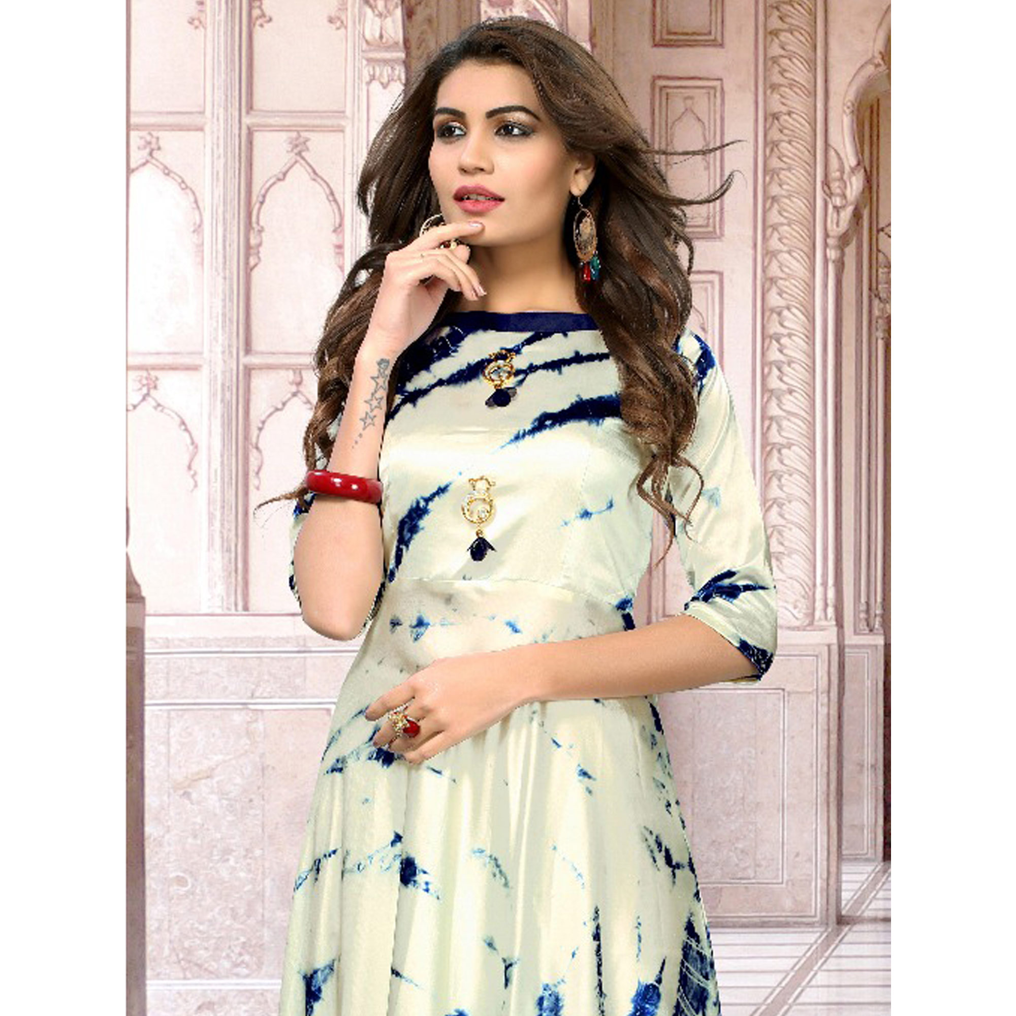 Blooming Beige Colored Partywear Shibori Printed Satin Silk Long Kurti