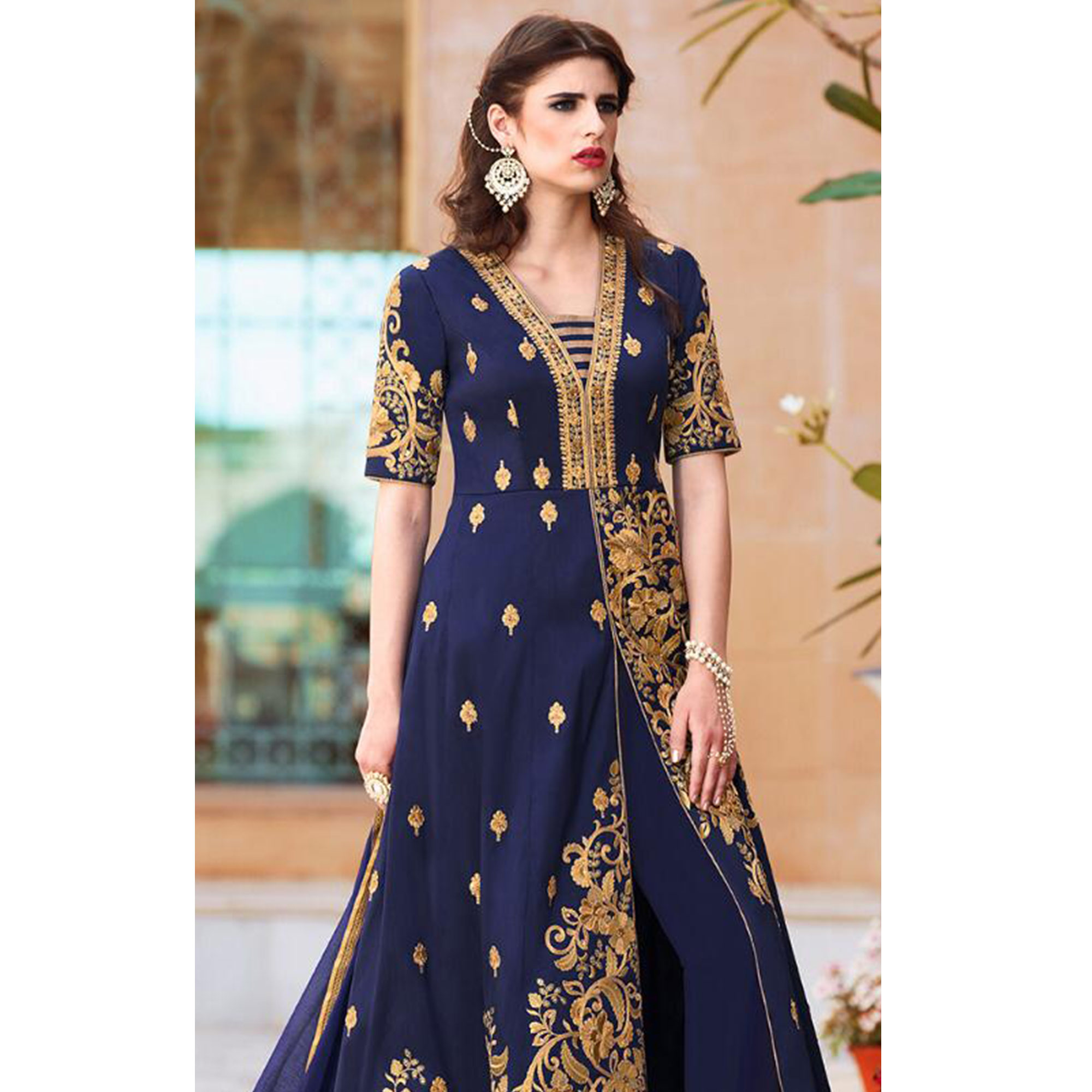 Intricate Navy Blue Colored Party Wear Embroidered Tapeta Silk Anarkali Suit