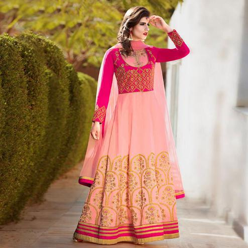 Desirable Pink Colored Party Wear Embroidered Banglori Silk Anarkali Suit