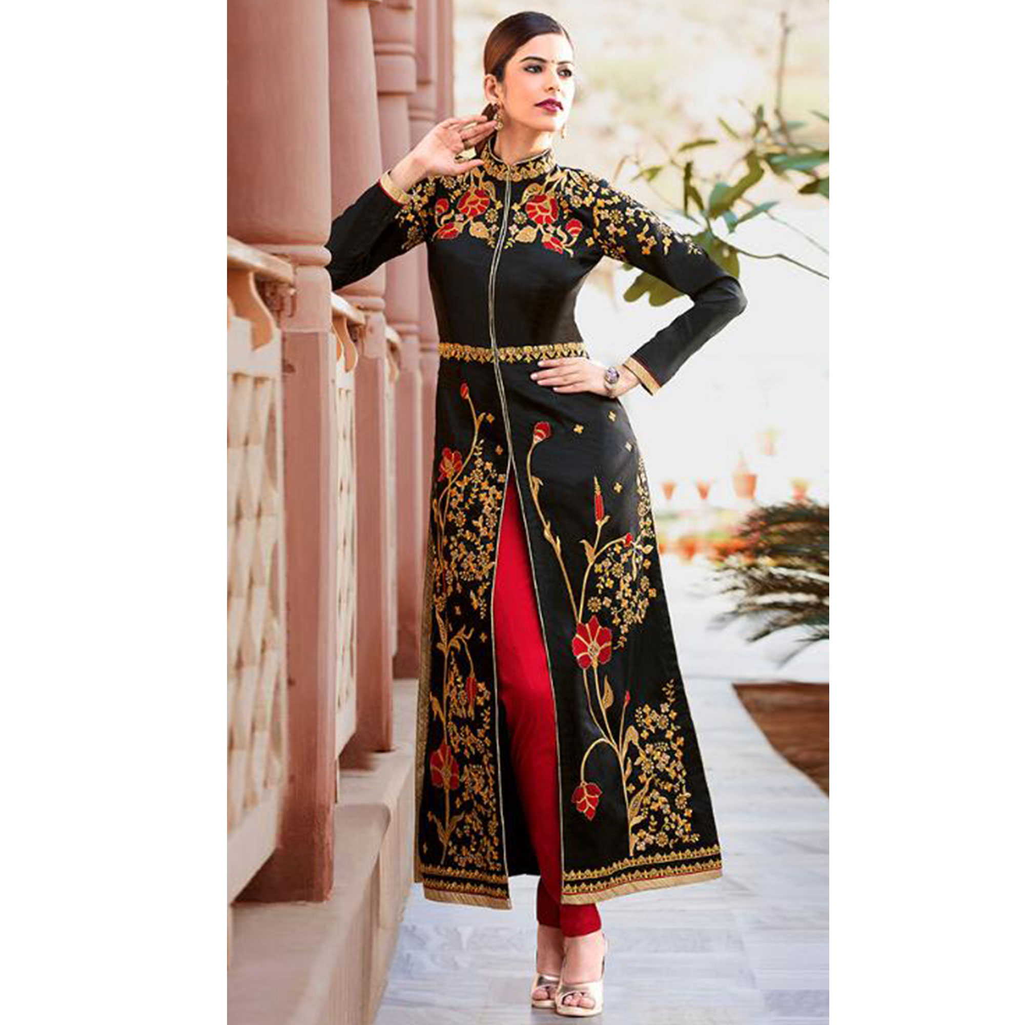 Demanding Black Colored Party Wear Embroidered Tapeta Silk Salwar Suit