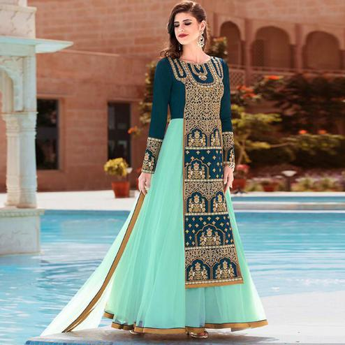 Pleasant Teal Blue - Turquoise Green Colored Party Wear Embroidered Banglori Silk Anarkali Suit
