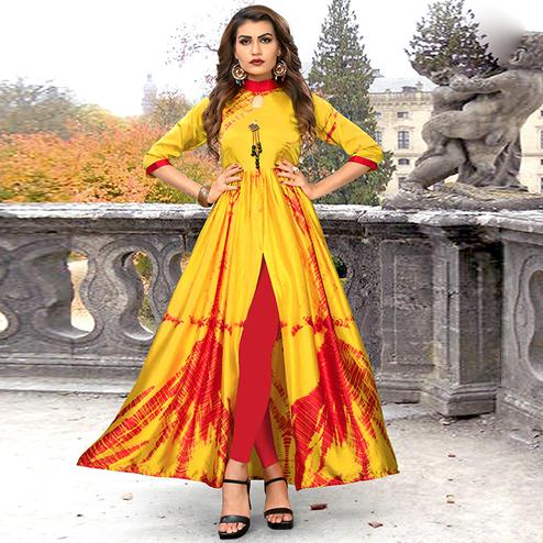 Marvellous Yellow Colored Partywear Shibori Printed Satin Long Kurti