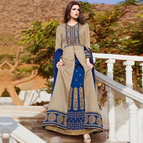 Unique Chiku - Blue Colored Party Wear Embroidered Tapeta Silk Lehenga Kameez