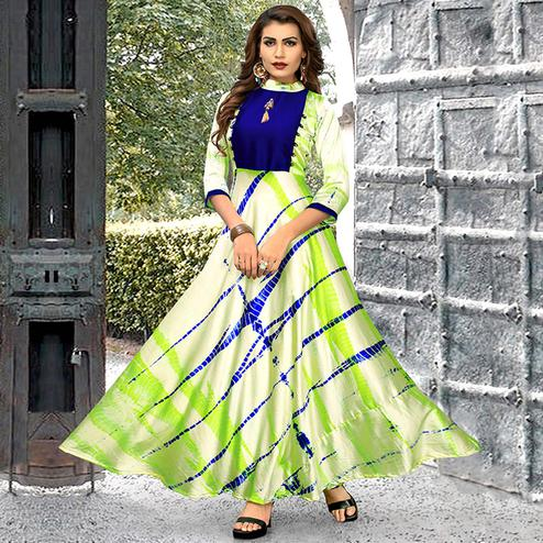 Mesmerising Light Green-Blue Colored Partywear Shibori Printed Satin Long Kurti