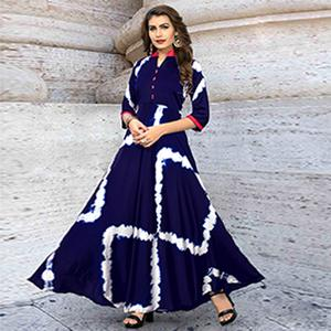 Ravishing Navy Blue Colored Partywear Shibori Printed Satin Long Kurti
