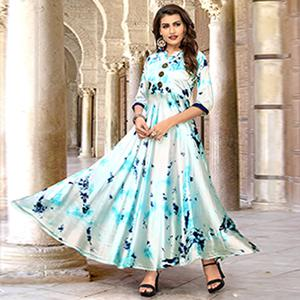 Eye-catching White-Sky Blue Colored Partywear Shibori Printed Satin Long Kurti