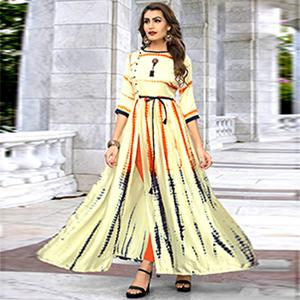 Amazing Cream Colored Partywear Shibori Printed Satin Long Kurti