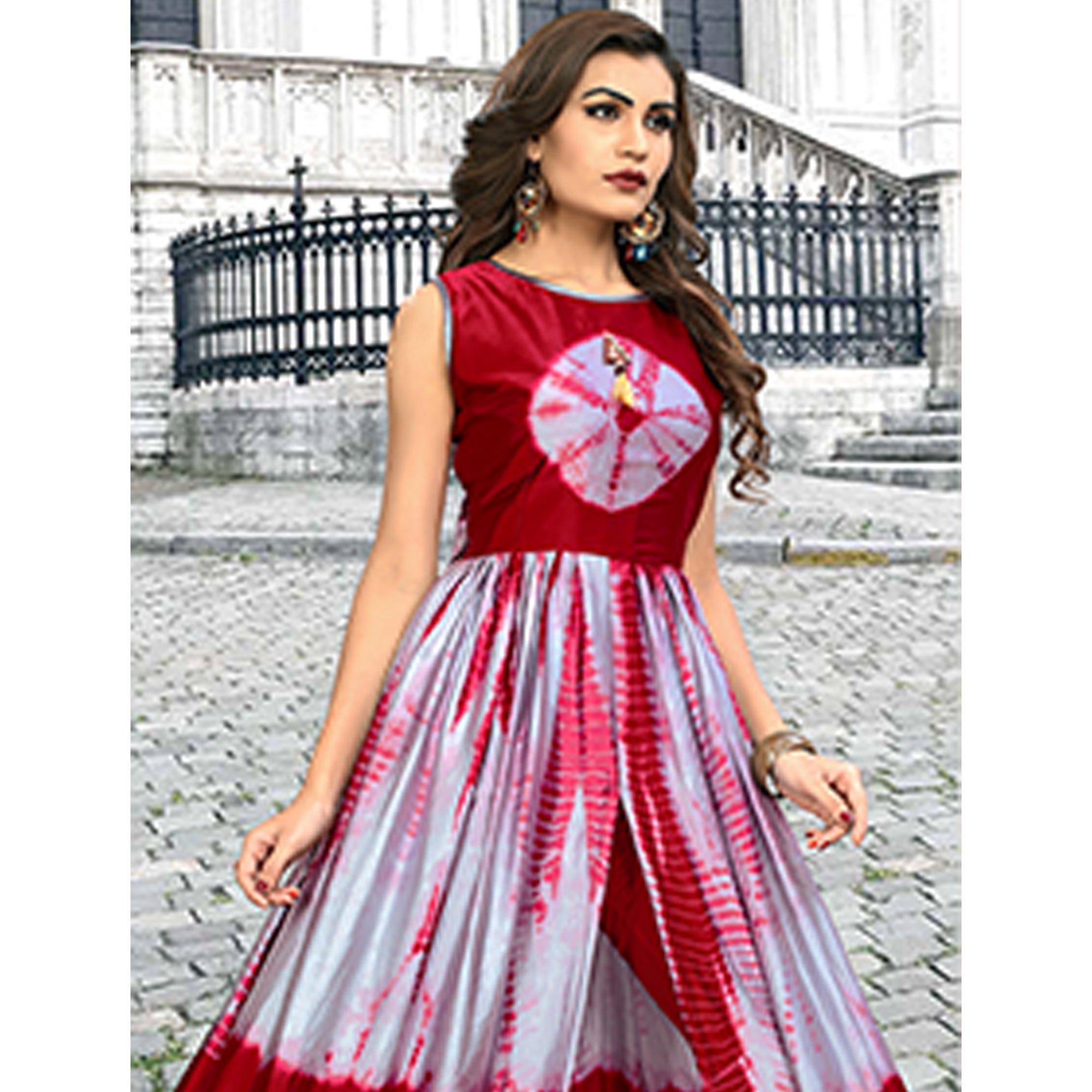 Exotic Gray-Maroon Colored Partywear Shibori Printed Satin Long Kurti