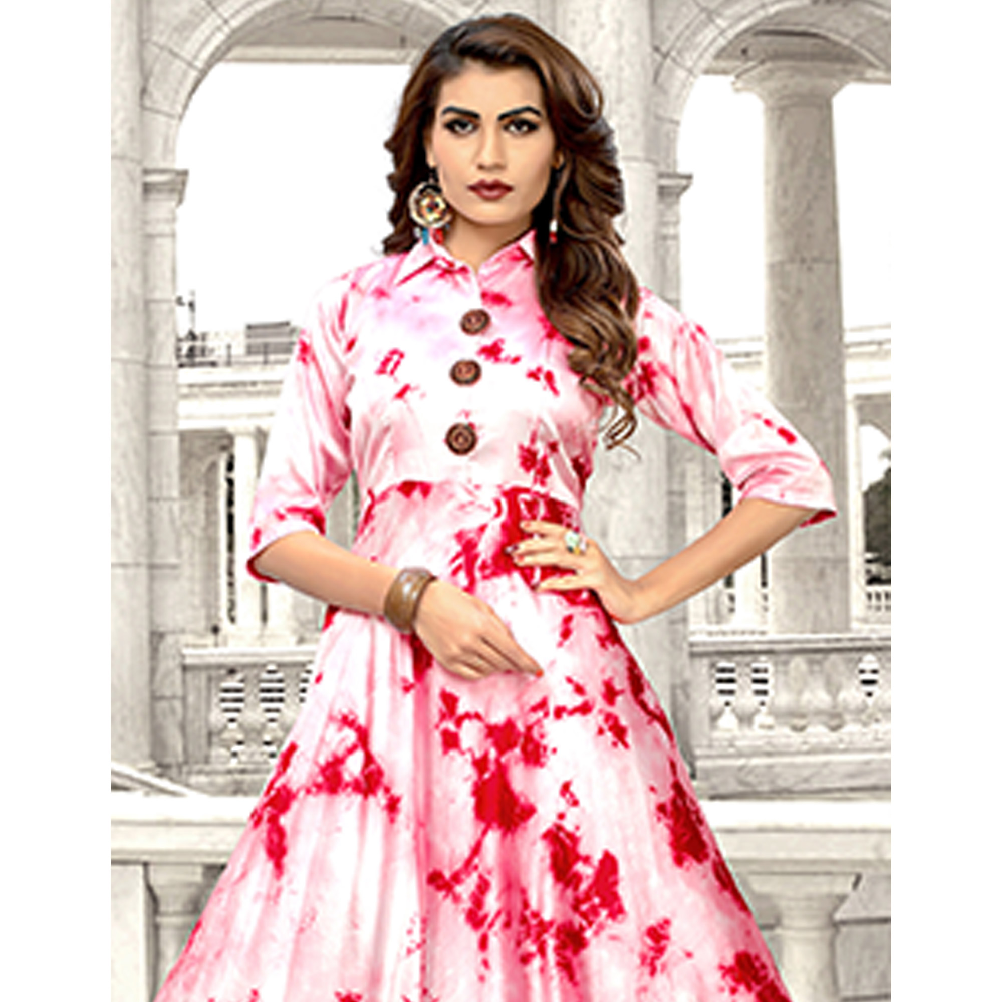 Majesty White-Red Colored Partywear Shibori Printed Satin Long Kurti