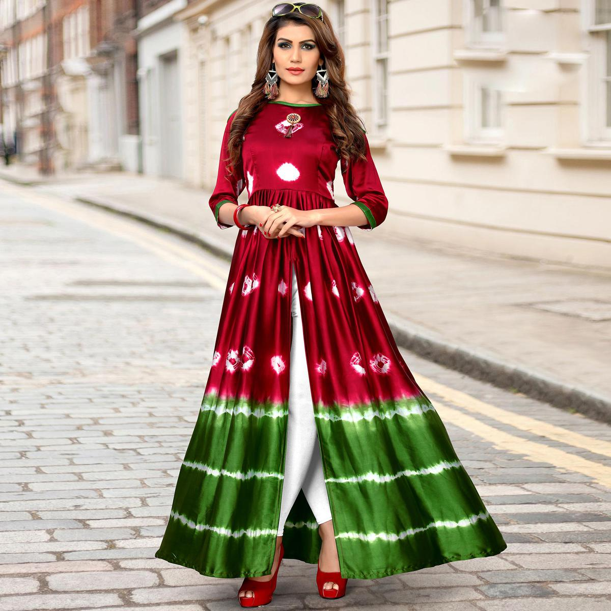 Preferable Red-Green Colored Partywear Shibori Printed Satin Long Kurti