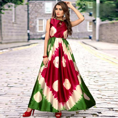Attractive Red-Green Colored Partywear Shibori Printed Satin Long Kurti
