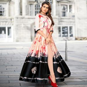 Surpassing Light Peach-Black Colored Partywear Shibori Printed Satin Long Kurti