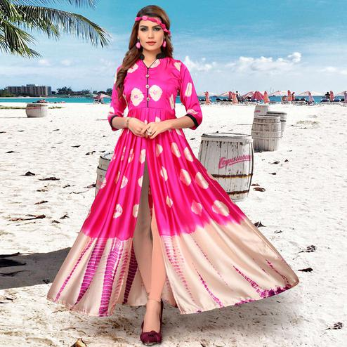 Entrancing Pink-Cream Colored Partywear Shibori Printed Satin Long Kurti