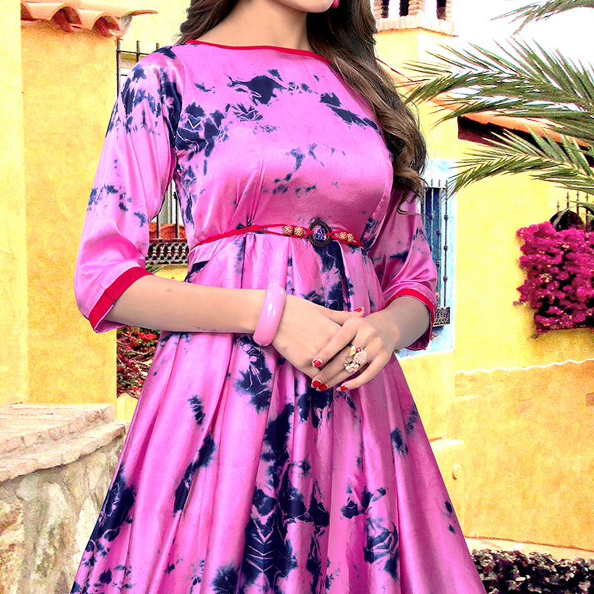 Glowing Rani Pink-Blue Colored Partywear Shibori Printed Satin Long Kurti