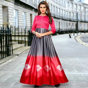 Flirty Red-Gray Colored Partywear Shibori Printed Satin Long Kurti