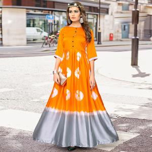 Starring Orange-Grey Colored Partywear Shibori Printed Satin Long Kurti